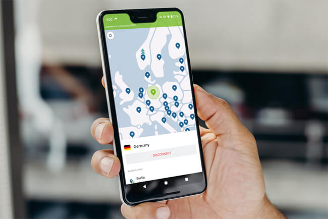 NordVPN app on an Android phone in hand