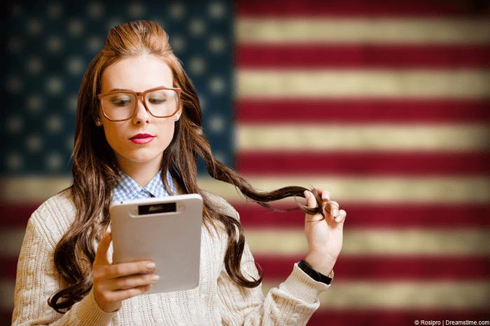 Girl with a USA flag