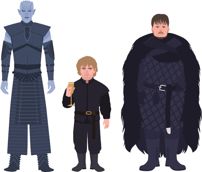 Illustration of 3 popular Game of Thrones characters