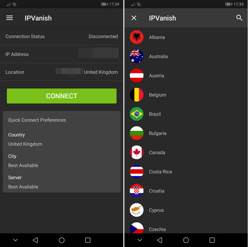 IPVanish Android app screenshot