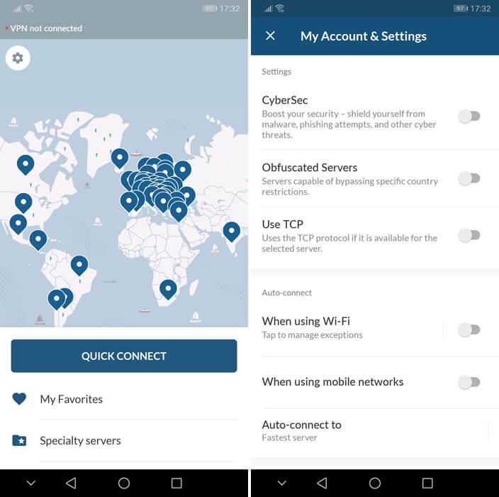 Screengrab of the NordVPN mobile app