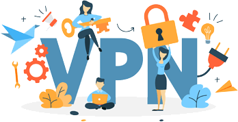 VPN letters with people holding a padlock