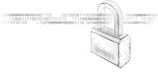 Illustration of a padlock with binary code