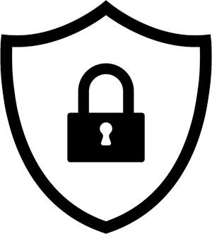 Padlock inside a shield illustration