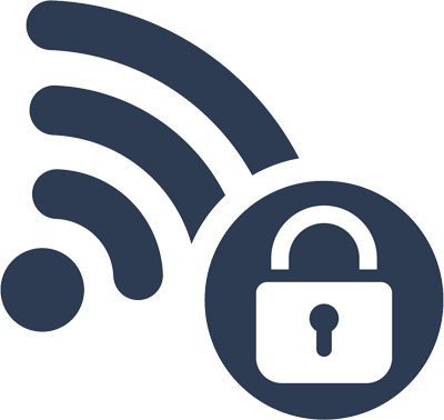 Padlock illustration with a WiFi symbol
