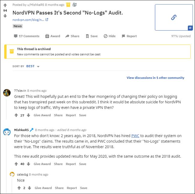 Reddit discussion on NordVPN logging